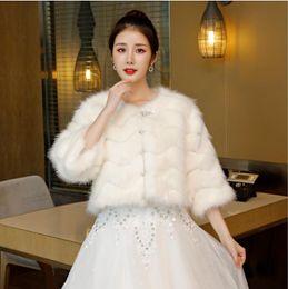 White Faux Fur Shorts Australia - Fashion Warm Thick Faux Fur Wedding Cloak Collar White Bridal Bolero Jacket Short Winter Bridal Cape In Stock