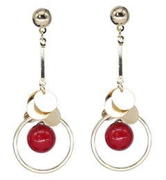 Copper Earrings Australia - Korean version of the popular glass small red ball fashion earrings Creative round copper rod long earrings Plating Red Beautiful gifts