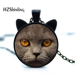 $enCountryForm.capitalKeyWord NZ - CAT-02 Brown British Shorthair cat pedant necklace with black ear jewelry Metal Colors for pet Lover real Cat shape