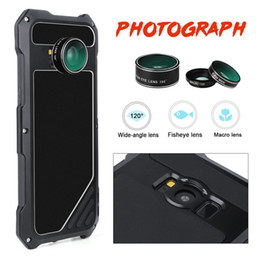 waterproof samsung camera case Australia - Shockproof Metal+Leather Case With Camera Angle Lens Micro-Lens For Samsung S8 Plus S7 Dust-proof Waterproof Drop Resistance Cellphone Cover