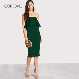 12a57c0b761 20187 COLROVIE Flounce Bandeau Pencil Dress 2018 New Green Party Slim Sleeveless  Bodycon Summer Dress Ruffle Stretchy Women Dress