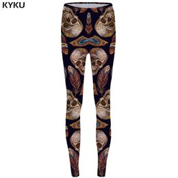 $enCountryForm.capitalKeyWord Australia - KYKU Skull Leggings Feather 3d pants Punk Stretch Pants Gothic Sexy Leggings High Waist Print Legging Women Jeggins Ladies