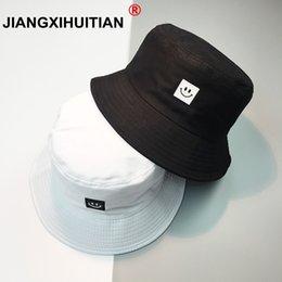 85663a9c0bf New Summer Hat Women Mens Panama Bucket Hat Smile Face Design Flat Sun  Visor Fishing Fisherman Bob Chapeu Femmes Hip Hop