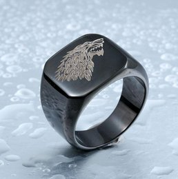 House band online shopping - Fashion Hight Polished Stainless Steel Jewelry Game Of Thrones House Starks Winterfell Wolf Dargon Signet Men Ring