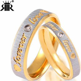 Discount engagement couple ring gold diamond - Wholesale- Forever LOVE men and women couples ring stainless steel wedding fashion jewelry titanium steel diamond-plated