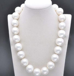 Huge silver cHain online shopping - Huge mm Genuine South White Sea Shell Pearl Round Beads Necklace quot