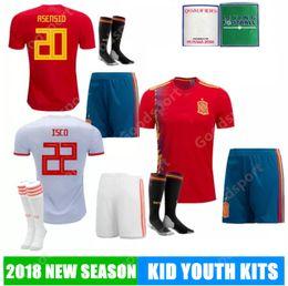 8af577b9976 S Kits Canada - 2018 KID Youth kits SPAIN Soccer Jerseys PIQUE Ramos  ASENSIO ISCO THIAGO