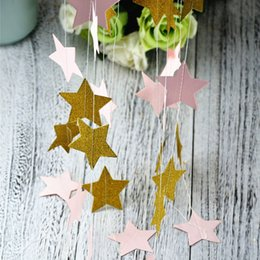 pink gold party decorations NZ - Pink Gold Star Paper Garland For Baby Shower Children Kids Birthday Party Decoration Wedding Decoration Home Decor confetti