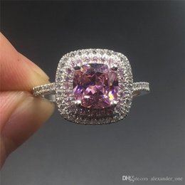 $enCountryForm.capitalKeyWord NZ - Fine Jewlery Brand 100% silod Sterling silver ring Luxury Princess-cut 4ct pink toazp gemstone ring Engagement wedding bried ring for women