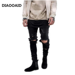 Denim Trouser Jumpsuits Canada - 2018 Mens hi-street Designer Clothes Denim Jumpsuit Jean Pants Korean Rock Stretch Moto Distressed Ripped Skinny Trousers Male