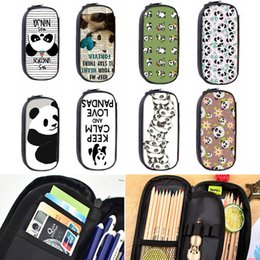 $enCountryForm.capitalKeyWord NZ - Cute Kawaii Panda Fabric Pencil Bag Cartoon Zipper School Pencil Case For Kids Korean Stationery