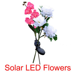 Fake lilies Flowers online shopping - Rose Lily Light Garden Solar Led Lamp Solar Power Fake Flower Lamps Tulip Shape For Outdoor Yard Lawns Balcony Path Party Decoration
