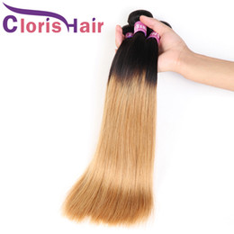 Discount brazilian hair highlights - Highlight 1B 27 Ombre Blonde Bundles Raw Indian Peruvian Virgin Hair Extensions Cheap Dark Roots Honey Blonde Straight H