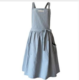 work skirts Canada - Brief Nordic wind Pleated skirt cotton linen apron Coffee shops and flower shops work cleaning aprons for woman washing daidle