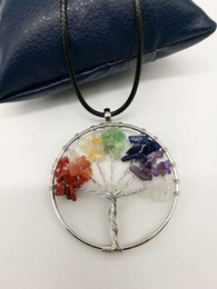 hot natural healing crystals Australia - Vintage Women`s Girl Natural Crystal Quartz Gemstone 7 Chakra Healing Tree of Life Pendant Necklace Jewelry Gift Hot