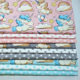Babies Bedding Sheets Australia - Unicorn cartoon print 100%cotton Fabric by the yard for kids bed sheets baby Quilt cover pillowcases 10yards lot tomo181