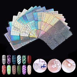 Chinese  Biutee 24Pcs Nail Art Vinyls Hollow Laser Transfer Foil Sticker Stencil Gel Polish Tips 3D Image DIY Guide Template Stamp manufacturers
