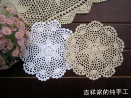 Innovative Wholesale Items Australia - Wholesale-Free shipping 12pic lot 20cm round cotton crochet lace doilies fabric felt as innovative item for dinning table pad coasters mat