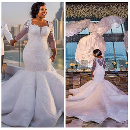 online shopping 2018 South Africa Mermaid Wedding Dress Quarter Sheer Long Sleeves Bridal Gown Custom Made Plus Size Mermaid Lace Appliques Slim Custom