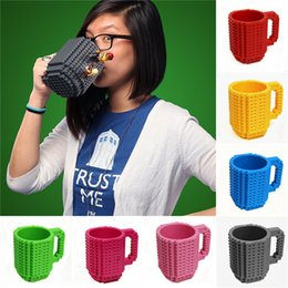 Kids Blocks Wholesale Australia - 350ml DIY Block Puzzle Mug Drinkware Building Blocks Mugs 10 Colors Brick Mug 1Piece Build-On Brick Creative Mug Coffee Cup LA615