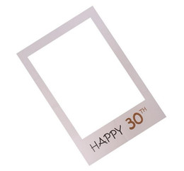 wholesale paper frames UK - Frame design Photo Booth Props Photography mask paper Card BirthdayParty Decoration event gift Happy 30th 40th 50th