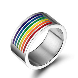 gay wedding wholesale 2019 - New Fashion Rainbow Ring for Gay Finger Ring Jewellry Accessory 10mm Large Stainless Steel Ring Rainbow Gay Pride Jewelr