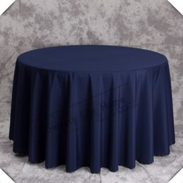 cheap round polyester table cloths NZ - 10PCS 275CM Free shipping Cheap polyester table cloths Banquet table cover Navy blue table cloths 108inch round for event