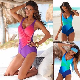 Discount woman swim costume - Sexy Womens Gradient Color Women Swimsuit One-Piece Suits 2017 Swimming Costume One Piece Monokini Swimsuit Swimwear
