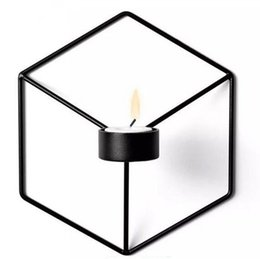 Chinese  Festive Visual Touch Nordic Style 3D Geometric Candlestick Metal Wall Candle Holder Sconce Matching Small Tealight Home Ornaments manufacturers