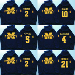 peppers jersey michigan Australia - Men Michigan Wolverines Coollege Jersey 5 Jabrill Peppers 4 Jim Harbaugh 10 Brady 2 Charles Woodson 21 Howard Jerseys Hoodies Sweatshirts