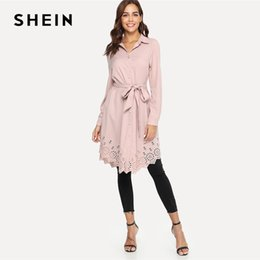SHEIN Pink Elegant Office Lady Workwear Laser Cut Scallop Trim Self Belted Stand  Collar Shirt Dress Autumn Women Casual Dresses 38481bfd8e9e