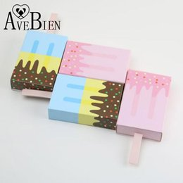 Cartoon Wholesale Ice Cream Australia - AVEBIEN 20pcs Ice Cream Shape Candy Boxes Baby Shower Birthday Party Gift Boxes Cartoon Drawer Bag for Kids Party Favor Package