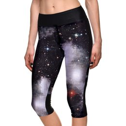 high space leggings NZ - Hot sale Women Galaxy Mid Calf Length Pants Space Print Leggings Black Milk Size S-4XL