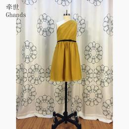 28dbbafbb3c 2017 New Cheap Chiffon One-Shoulder A-Line Ruffle Bow Elegant Knee-Length  Junior Bridesmaid Dresses Custom Size Color