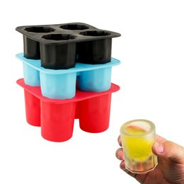 $enCountryForm.capitalKeyWord NZ - 4-Cup Ice Cube Shot Shape Food Grade Silicone Shooters Glass Freeze Molds Maker Tray Party Bar Tools Ice Shot Glass Mold 10*10*5.5cm