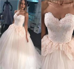 eb351065ffa 2018 Blush Wedding Dresses A Line Sweetheart Puffy Floor Length Tulle Ball  Gown Lace Top Formal Bridal Gowns For Teens Plus Size