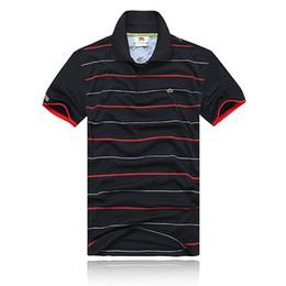 Venta al por mayor de 2018 Polo bordado de la raya de la marca de polo Camisa de polo de cocodrilo de manga corta de algodón sólido de los hombres del verano Lape