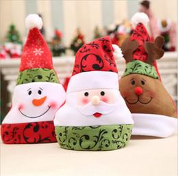 Snowman Party Decorations Australia - Bulk Lots 3 Styles Fleece Santa Claus Hat Deer Snowman Christmas Cosplay Hats Christmas Decoration Christmas Party Hats