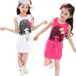 Wholesale Girls s fashion apparel kids sleeveless T shirt cotton top sundress Mini dress cotton dress with bowknow children clothing
