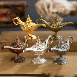 Ingrosso Eccellente fiaba Aladdin Lampada magica Bruciatore di incenso Vintage Retro teiera Genio Lampada Aroma Stone Home Ornament Metal Craft
