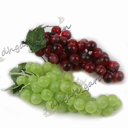 plastic grapes home decor UK - Bunch Lifelike Artificial Grapes Plastic Fake Decorative Fruit Food Home Decor 2 Colors Drop Shipping