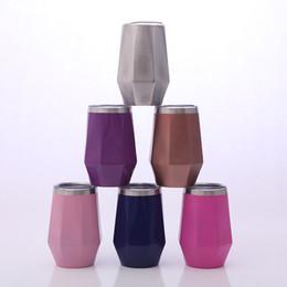 $enCountryForm.capitalKeyWord UK - 12oz stainless steel tumbler Egg Cup Diamond Shape Vacuum Insulation Beer Mug party champagne coffee mugs with lid