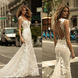 China Berta Sheer Mesh Top Lace Mermaid Wedding Dresses Tulle Applique 3D Floral Wedding Bridal Gowns With Buttons BA9306 cheap wedding dresses sheer mermaid top suppliers