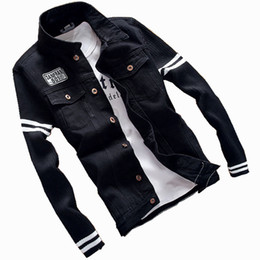 Chinese  2018 Spring Wool sleeve Men's Denim Jackets Men Autumn letter Jeans Coat With Pockets Slim Fit Male Casual Jacket manufacturers