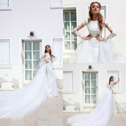 $enCountryForm.capitalKeyWord UK - Ricca Sposa Mermaid Wedding Dresses Bling Detachable Skirts Applique Lace Sequins Long Sleeve Plus Size Bridal Gowns Beach Robe De Mariée