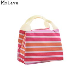 Picnic Ice Packs Canada - Striped Cold Insulation Bag Ice Pack portable Lunch Tote Bag Travel School Zipper Picnic Lunch OCTT06