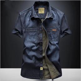 plus size short sleeve denim shirt 2019 - wholesale Casual Shirts Solid High Quality Summer Denim Shirt Men Short Sleeve Casual Shirts Loose Plus Size XXXL 4XL 20
