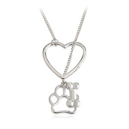 $enCountryForm.capitalKeyWord NZ - Puppy Paw Bone Charms Pendant Necklace With Love Heart Buckle 45cm Link Chian Creative Jewelry Gift For Dog Lovers Free Shipping