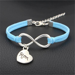 handmade gifts for mom NZ - 12 Colors Blue Leather Infinity Mom Heart Pendant Love Lucky Charm Bracelets & Bangles For Women Men Handmade Knots Rope Wrap Jewelry Gifts