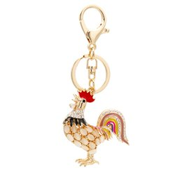 Crystal Clear Phone Cases NZ - Twinkle Cock Charms Crystal Rooster Phone Case Straps Shining Chanticleer Rhinestones Keychain Car Diamonds Pendant Znic Alloy Jewelry Gifts